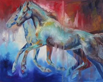 Jenny Blomquist - Sanguine Motion Oil on Canvas, Paintings