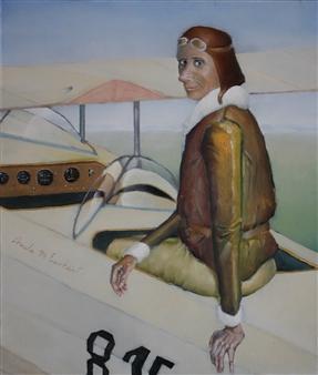 Jorge Garcia-Sainz - Amelia Earheart Oil on Canvas, Paintings