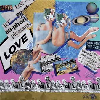 Nancy Landauer - Love / Suburbia Mixed Media Collage on Canvas, Mixed Media