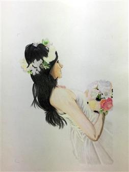 Atsushi Imai - Bride Colored Pencil on Paper, Drawings