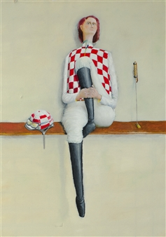 Jorge Garcia-Sainz - Jockey Girl Oil on Canvas, Paintings