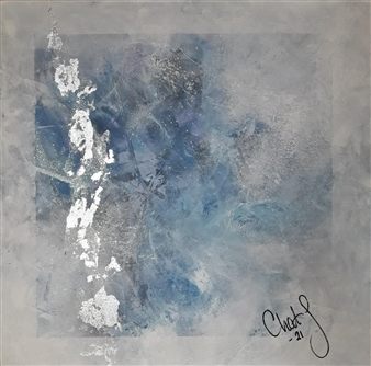 Chatarina Salomonsson - Iceing With Silver Leaves Acrylic on Canvas, Paintings