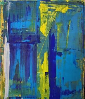 Alexander Seccombe - BlueYellow panel Acrylic & Gouache on Canvas, Paintings