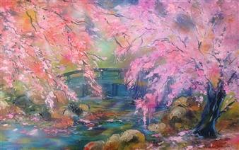 Caroline Degroiselle - My Garden in the Heart of Sakura Acrylic on Canvas, Paintings