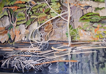 E. Halfpenny - Tanglewood Cove Watercolor & Ink on Paper, Paintings