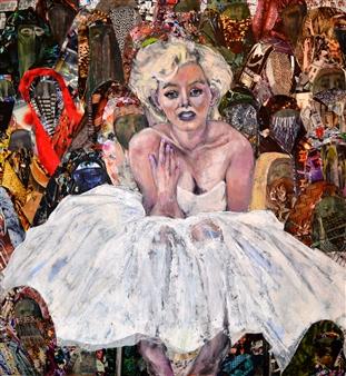 Claudia Mayer-Mallenau - Females Acrylic, Collage & Mixed Media on Canvas, Mixed Media