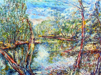 James Chisholm - Ipswich River, Topsfield (March/July) Oil on Canvas, Paintings