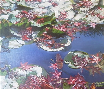 Sayumi Osanai - Water Lilies 3 Oil on Canvas, Paintings