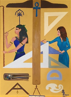 Ragaa Mansour - Seshat, the Ancestor of Egyptian Architects Oil on Canvas, Paintings