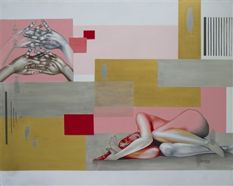 Renuka Sondhi Gulati - Illusions At Rest Acrylic & Oil on Canvas, Paintings