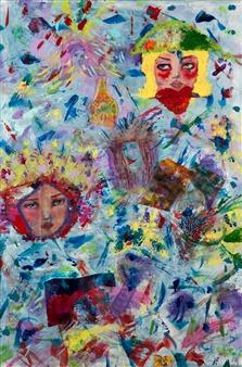 Jodi DeCrenza - False Faces Acrylic & Oil on Canvas, Paintings