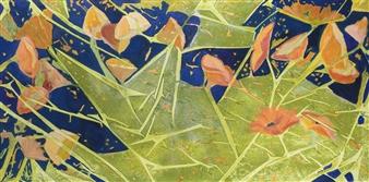 Pauline Rakis - Tangled Orange Blossoms Acrylic on Canvas, Paintings
