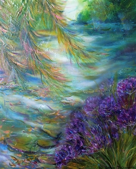 Caroline Degroiselle - The Blue Agapanthes in a Dreaming Morning Acrylic on Canvas, Paintings