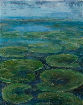Anne E Chamness - Lily Pads Acrylic on Canvas, Paintings