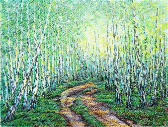 Uriy Bykov - Birch Acrylic on Canvas, Paintings