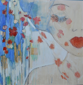 Monica Adams - With Flowers in her Hair Oil on Canvas, Paintings