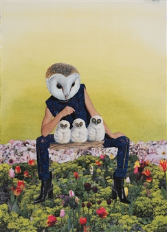 Evelyna Helmer - Dream Rooms no. 3 - Owl Mother Collage & Mixed Media on Paper, Mixed Media