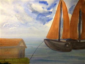 Aaron Cristofaro - Sail Away Watercolor on Paper, Paintings
