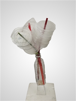 Judy Ann Filipich - Plastic Bottle Series #1 Recycled Straws, Cups, and Bottle, Sculpture