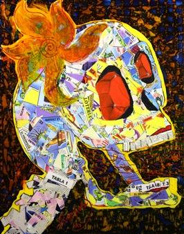 Hugo Ximello-Salido - La Carcajada Acrylic & Ink on Canvas, Paintings