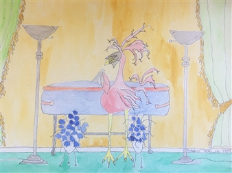 Richard Tomlin - Violet & Crimson Casket with Veiled Faced Millie Watercolor on Paper, Paintings