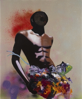 Evelyna Helmer - Man with Orchids Oil & Spray Paint with Glitter on Fine Linen, Mixed Media