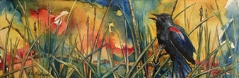 D. L. Brabander - Red Wing Blackbird II Watercolor on Canvas, Paintings
