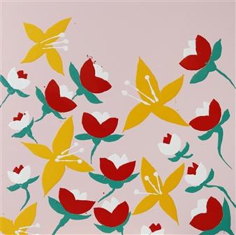 Jolie Dueñas - Flowers (Pink) Enamel, Paintings