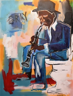 """Bulsby """"Buzz"""" Duncan - Basquiat Playing the Clarinet Acrylic, Watercolor & Charcoal, Mixed Media"""