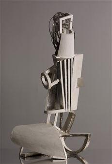 Attila Mata - White and Metal Acrystal, Stainless Steel, Sculpture