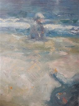 Fiz Dominguez - At the Sea's Shore Oil on Canvas, Paintings