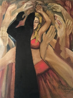 Ragaa Mansour - The Two Aspects Oil on Canvas, Paintings