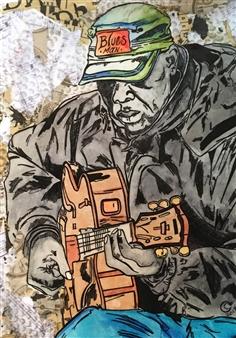 Sydnei SmithJordan - Blues Man Mixed Media on Paper, Mixed Media