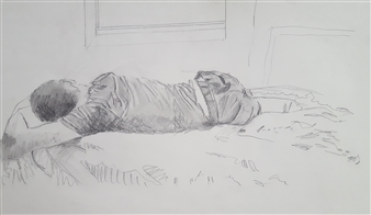 Anna Weichert - Sleeping Basem Pencil on Paper, Drawings