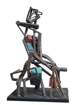 Attila Mata - Luxury Woman Bronze & Painted Wood, Sculpture