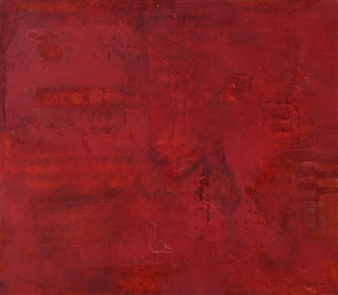 Irma Lescinskaite - Abstract Red Oil on Canvas, Paintings