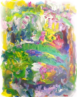 Susan Marx - Monet's Japanese Bridge with Wisteria, Giverny Acrylic on Canvas, Paintings