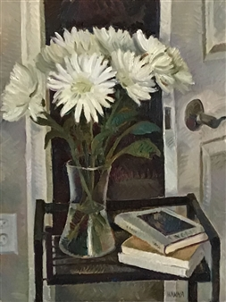 Hana Vater - Still Life with Books_1 Oil on Canvas, Paintings