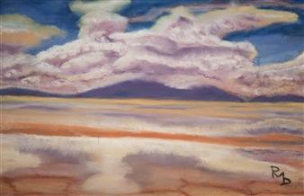 Raul Mariaca Dalence - Salar Uyuni - Clouds Reflexion on Ground Pastel on Canvas, Paintings