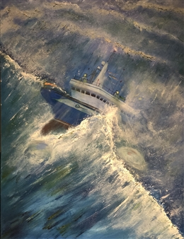 Michael Ocepek - North Sea Trawler Oil on Canvas, Paintings