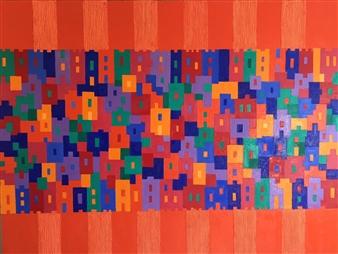 Mario España - Somerville Oil & Ink on Canvas, Paintings