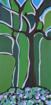 Claudia C Forero - Paradise Tree I. Flora and Fauna. Acrylic on Canvas, Paintings
