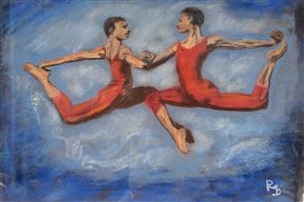 Raúl Mariaca Dalence - Saut à deux Pastel on Paper, Paintings