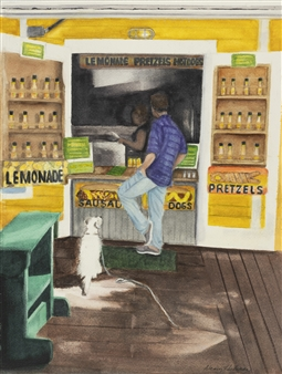 Nancy Holleran - Dog Watchin' for a Dog (Florida Keys Hot Dog Stand) Giclee Print, Prints