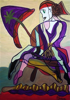 Panagiota Yotta - Woman in Decision Oil on Canvas, Paintings