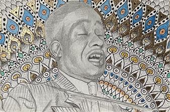 John Britton - Broonzy Mandala Ink & Gold Leaf on Paper, Paintings
