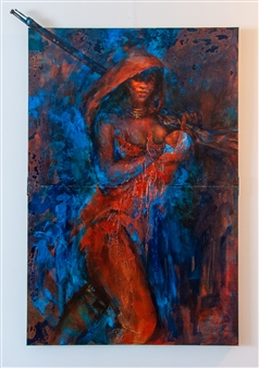 The KonKons - Desert Rose Mixed Media on Canvas, Mixed Media