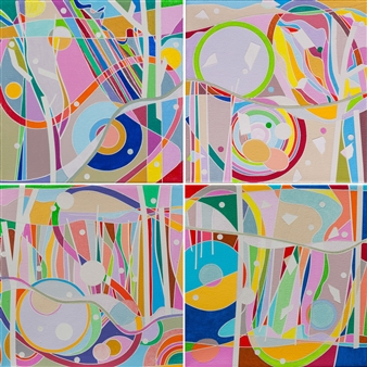 "Ai-Wen Wu Kratz - New Finds, four 8"" x 8"" units Acrylic on Canvas, Paintings"