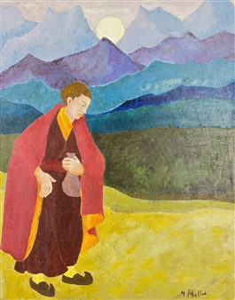 Marliese Scheller - Thibetain Oil on Masonite, Paintings