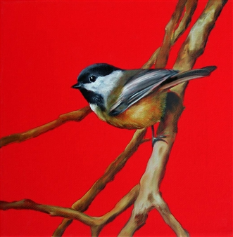 Eric Carter - Chickadee Oil on Canvas, Paintings